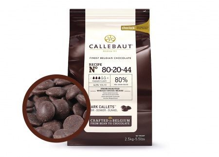 Горький шоколад Callebaut 80,1% POWER 80 в дисках, пакет 2,5 кг фото 1